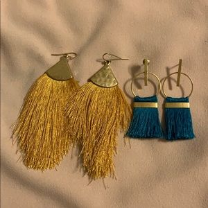 Tassel earring bundle gold and teal